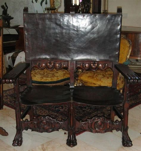 Vintage Settee Loveseat by Antique C1870 Louis Xiii Carved Wood Leather Sofa