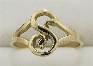 14k solid yellow gold initial ring letter s ebay for S letter gold rings