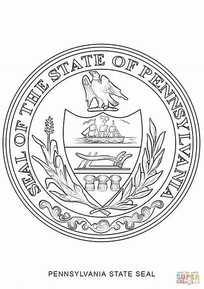 Pennsylvania Seal Coloring State Pages Flag Massachusetts