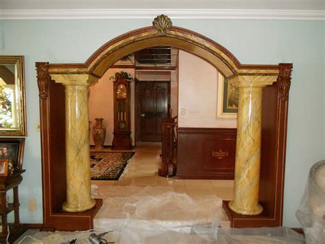 Faux Marble Siena Columns   Traditional   Living Room