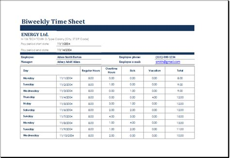 Contractor Paysheet Template Excel by Biweekly Time Sheet With Sick Leave And Vacation Excel