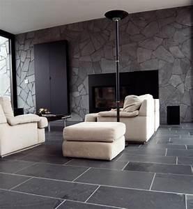 Black Tile Flooring Modern Living Room – Modern House