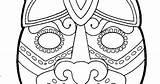 Mayan Mask Template Masks Pages Jaguar Temple Ruins Colouring Guatemala sketch template