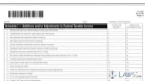 Form F 1120 Corporate Income Excise Tax Return