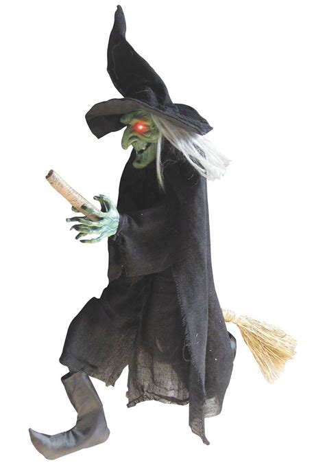 witch decoration hanging green witch on broom animated green witch decorations
