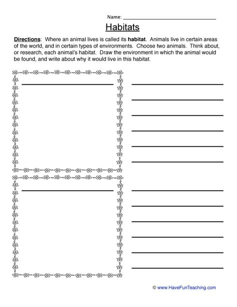 animal habitats worksheet writing