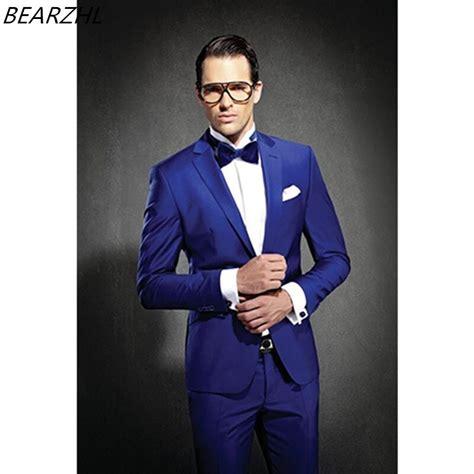 wedding suits groom tuxedo royal blue men suit slim fit