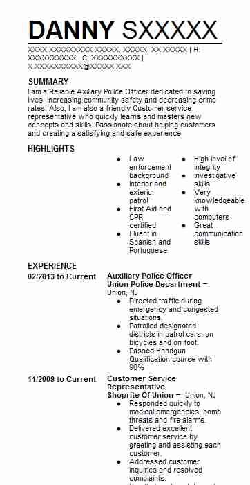 auxiliary police officer resume  certis cisco