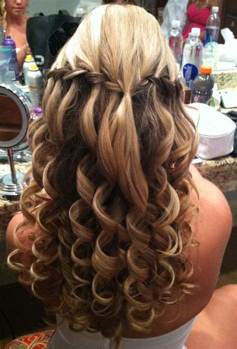 wedding prom hair waterfall braids with a bump and big