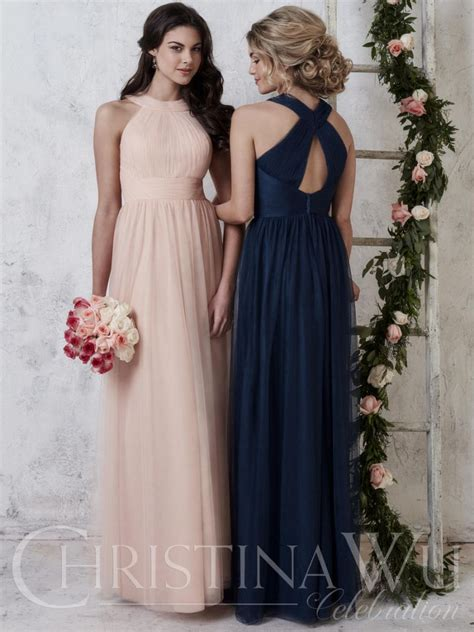 christina wu  high neck tulle bridesmaid dress