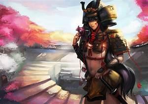 Girl, Samurai, Armor, Sword, Mask, Paint, Katana, Warrior, Warriors, Wallpapers, Hd, Desktop, And