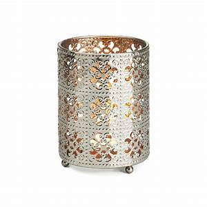 Filigree votive holder small silver lanterns lamps for Bed bath n table lamp