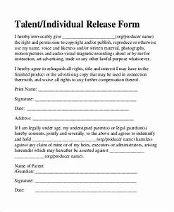 Sample Talent Release Form 9 Examples in Word PDF