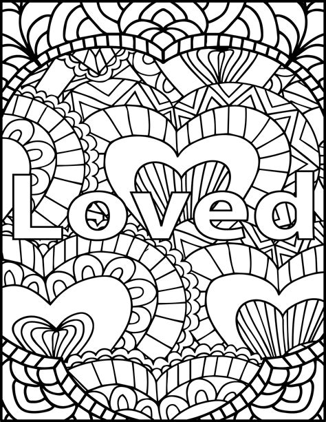 color messages i am loved coloring page inspiring message