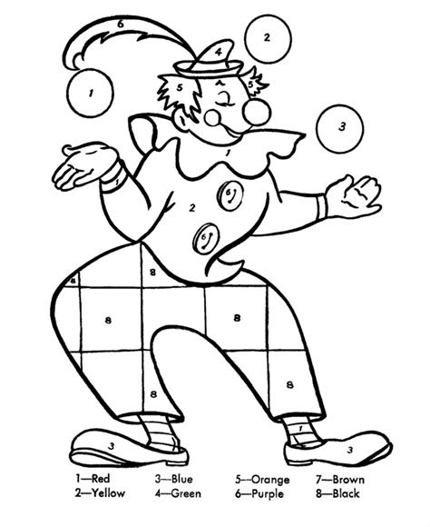 Kleurplaat Clowsgezicht by Color By Numbers Page Clown Juggling Balls Color By