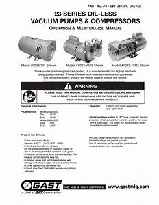 Gast 1423 Series Oilless Vacuum Pumps And Compressors User