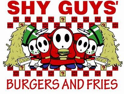 Shy Guys Fries Burgers Guy Mario Five
