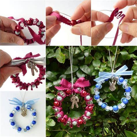 bead  ribbon wreath christmas ornament tutorial