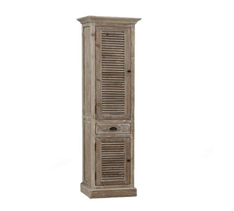 79 Inch Distressed Linen Cabinet Rustic Finish Floor