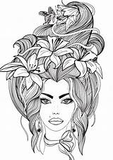 Flowers Coloring Butterfly Hair Portrait Lily Pages Adult Colouring Adults Flower Colorear Books Pag Young Floral Fairy Printable Sheets Drawing sketch template