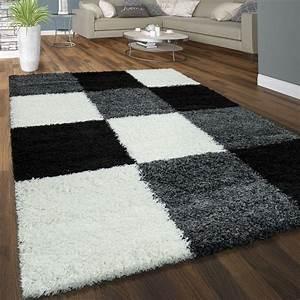 Teppich Schwarz Weiß : hochflor teppich karo schwarz wei grau ~ A.2002-acura-tl-radio.info Haus und Dekorationen