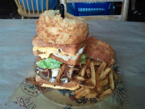 kitchen sink burger the omg burger platter picture of river city cafe 2598