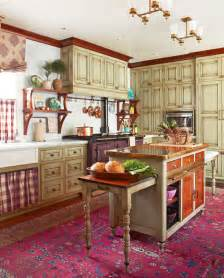 colorful country kitchens cozy kitchen with warm colors traditional home 2335