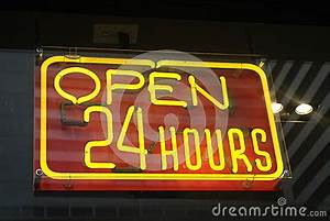 Open 24 Hours Neon Sign Stock Image
