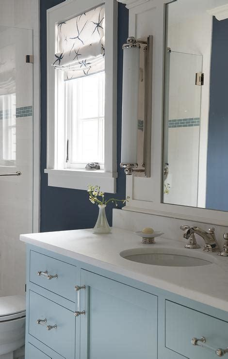Navy Kids Bathroom With Turquoise Washstand And Glass