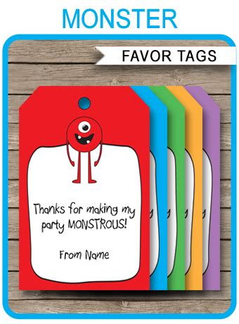 monster party favor tags   tags birthday party