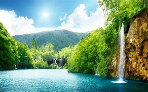 nature waterfall summer lake trees hd wallpaper 87432