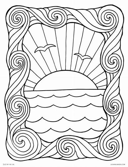 Coloring Pages Waves Sunset Wave Sheet Ocean