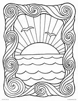 Coloring Pages Waves Sunset Wave Sheet Ocean Printable Frame Water Adults Summer Sun Scene Surf Popular Getcolorings sketch template