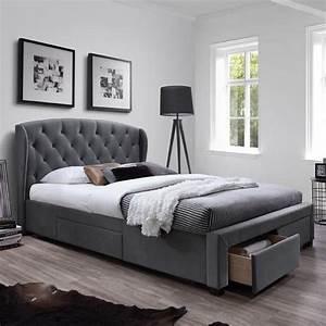 But Lit 160x200 : lit 160x200 cm gris avec t te de lit capitonn e et tiroirs ~ Teatrodelosmanantiales.com Idées de Décoration
