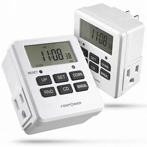 Digital Outlet Timer  Fospower  2pack   Etl Listed