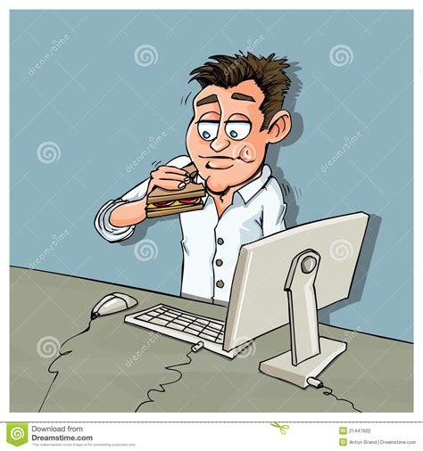 bureau de dessin employé de bureau de dessin animé mangeant le luch