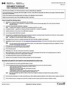 Document checklist for a temporary resident visa fill for Document checklist temporary resident visa canada