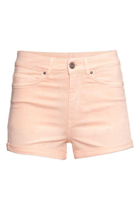 washed stretch shorts high waist light apricot sale h m us