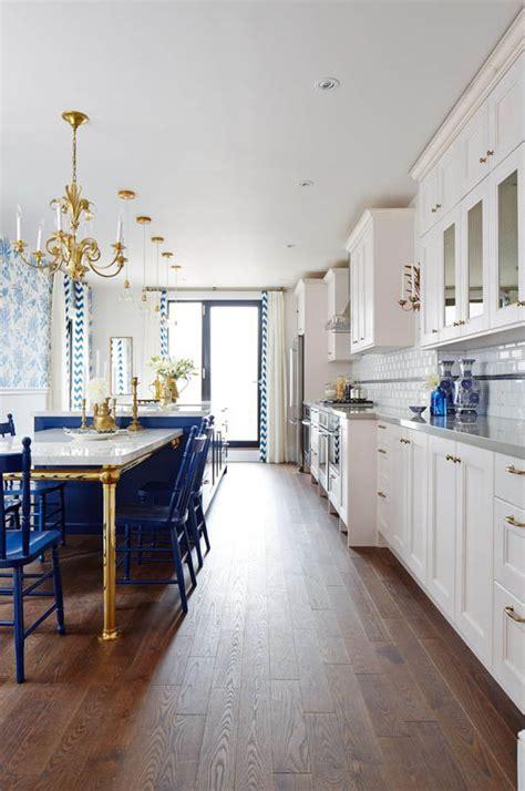 sarah richardsons royal blue gold  white kitchen