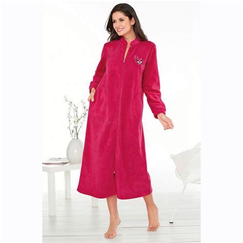 robe de chambre polaire fermeture eclair robes de chambre hiver femme
