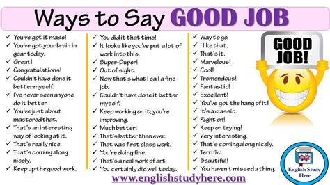100 Ways To Say Good Job In English  English Study Here