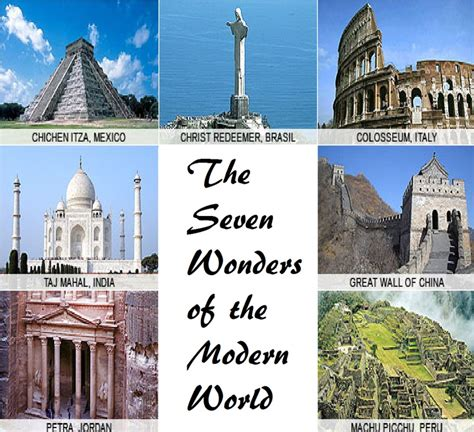 the seven wonders of the modern world various places