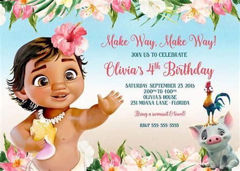 Baby Moana 2nd Birthday Invitation