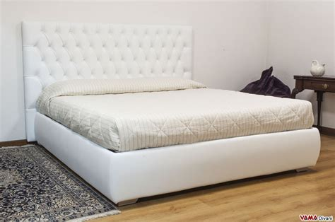 Leather Double Bed With Upholstered And Buttoned Headboard