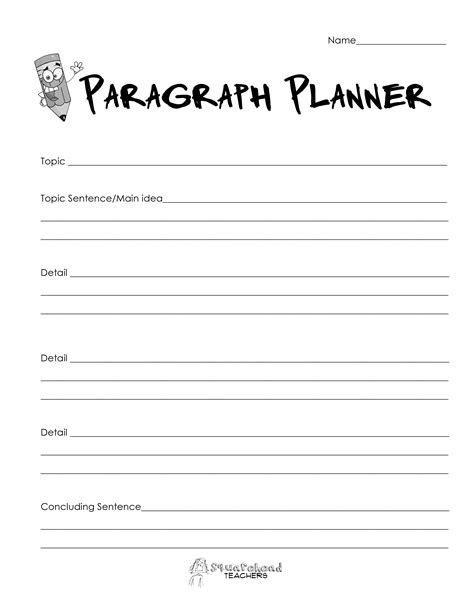 paragraph template paragraph planner simple squarehead teachers