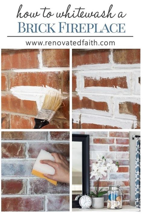 whitewash  brick fireplace faux german smear