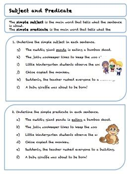 grade 5 subject and predicate worksheets by teach to love love to teach