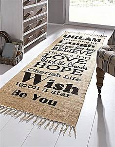 Teppich 90 X 200 : teppich spr che beige schwarz gr e 70 x 200 cm ~ Markanthonyermac.com Haus und Dekorationen