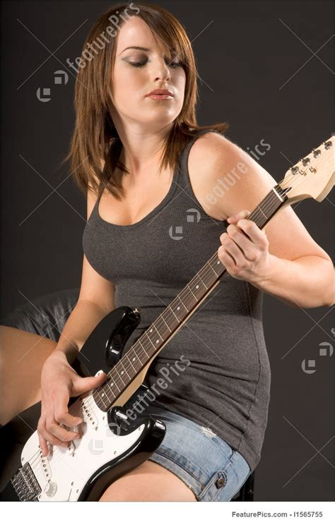 girl  electric guitar stock image   featurepics