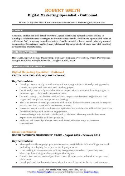 digital marketing specialist resume sles qwikresume